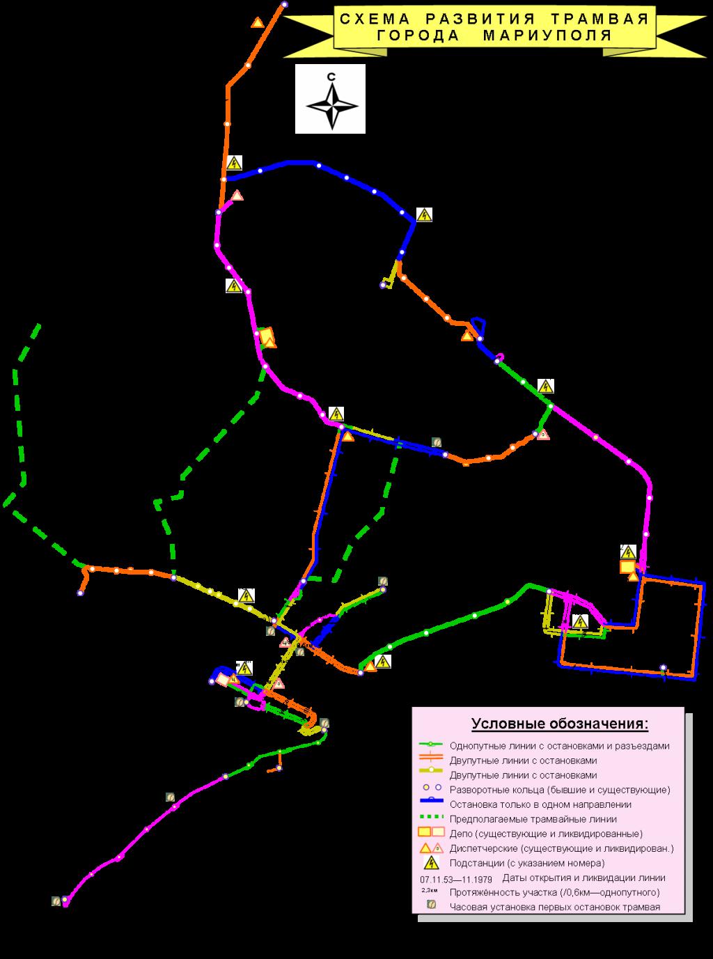 Карта истории развития трамвайной сети города