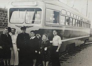 Стахановская бригада трамвая МТВ-82 в 1954 году
