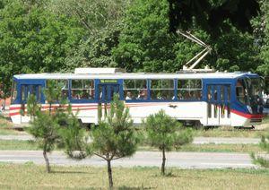 Современный трамвай К-1 днепропетровского производства