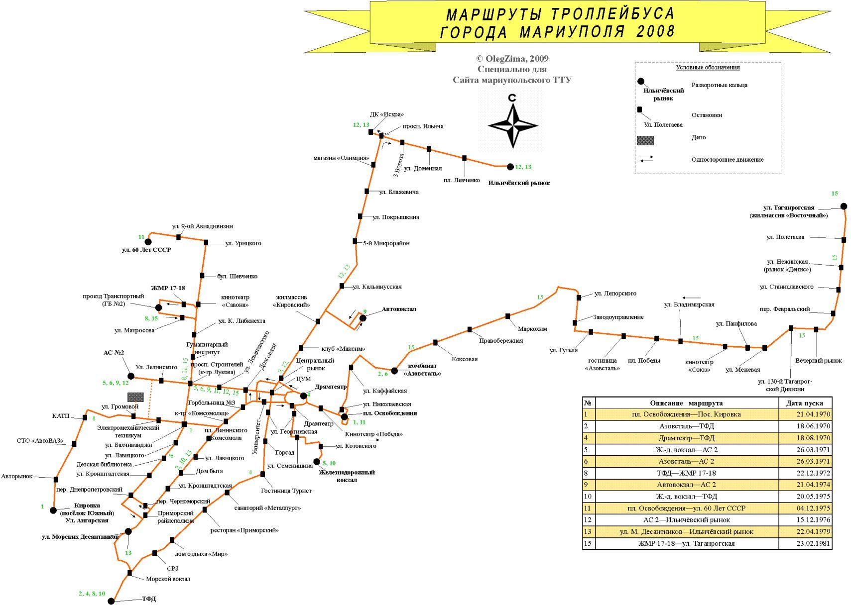 Карта современной троллейбусной сети города (2008)